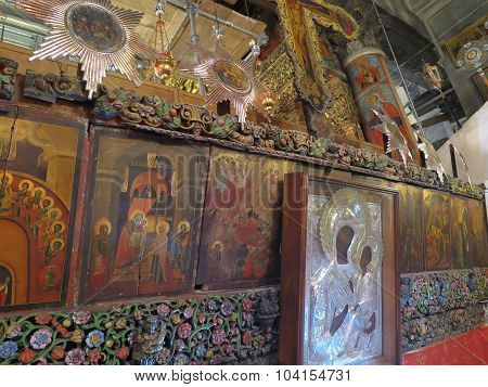 Bethlehem, Pa, Israel, July 12, 2015: The Richly Decorated Interior Of The Church In The Area Of Chu