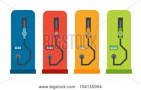 Vector Flat Car Refuelling Stand Illustration