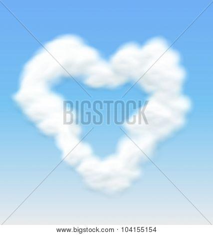 Clouds Shaped Heart Border Blue Sky