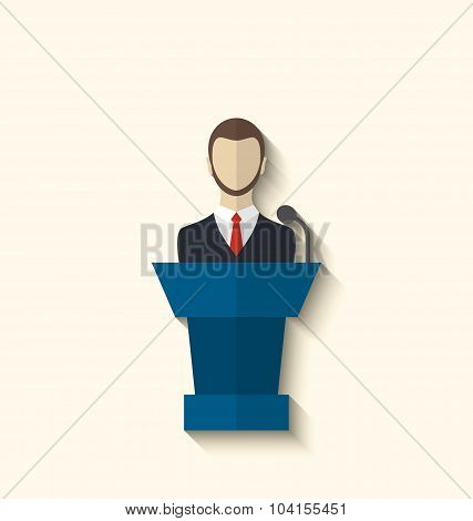 Flat icon of orator speaking from rostrum, long shadow style