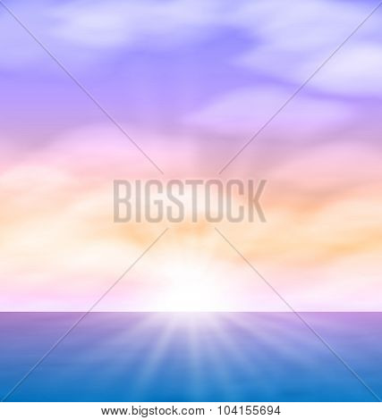 Sea Sunrise Bright Sun Fluffy Clouds