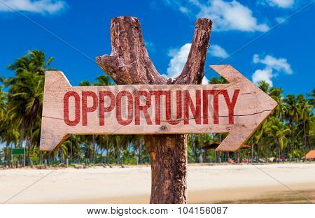 Opportunity arrow with beach background
