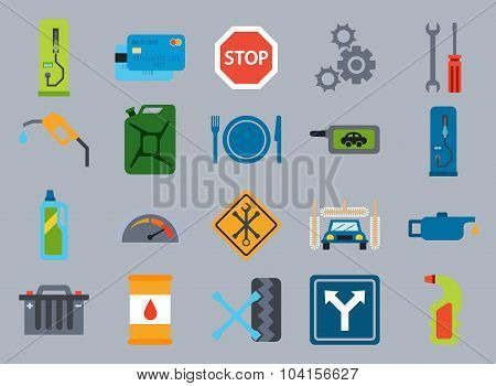 Vector Car Service Flat Icons. Vehicle Maintenance And Repair