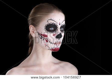 Woman With Dia De Los Muertos Makeup, Black Empty Space.