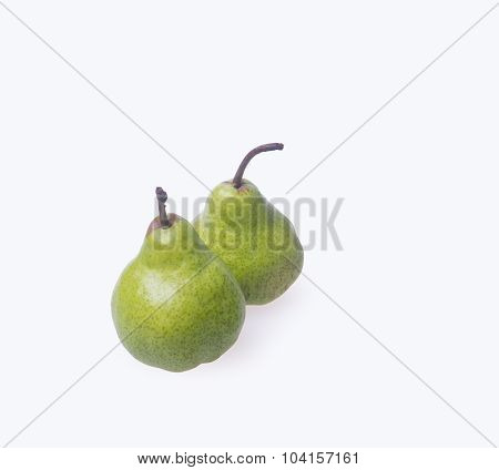 Pears Or Two Green Pears On A Background.