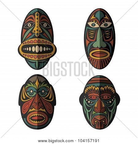 Set of African Ethnic Tribal masks on white background.