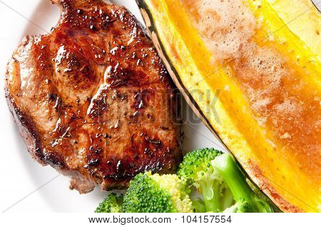 Pork Neck Chop With Squash