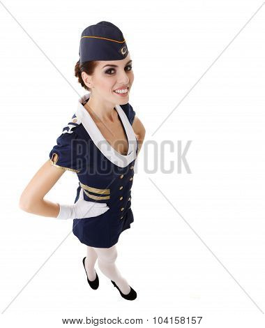Charming Stewardess Dressed In Blue Uniform On White Background.