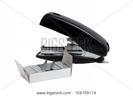 Old Dusty Black Office Stapler With Straps