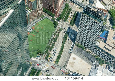 Aerial view of West Street in Manhattan
