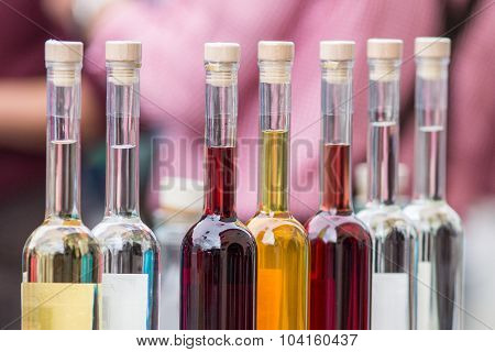 Set of colourful bottles