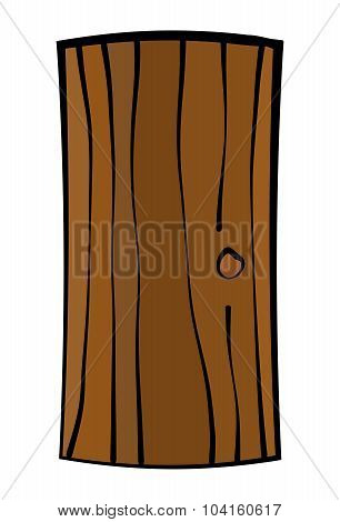 Image Of Old, Ruined Wooden Door, Gate. Witches House Door. Vector Illustration Isolated On White Ba