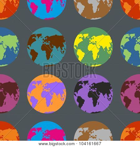 Earth Coloured Crazy Pattern. Multi-colored Continents. Background Of Atlases.