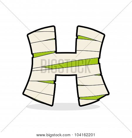 H Letter Monster Zombie. Alphabetical Icon Medical Bandages. Egyptian Concept Of Template Elements A