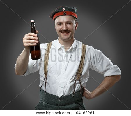 Cheerful Man With A Beer Bottle.