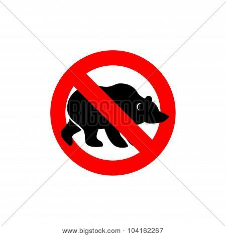 Stop Bear. Banned Wild Animal. Animal Silhouette Frozen Alaska. Emblem Against A Wild Scary Beast. R