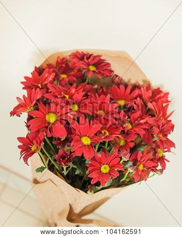 Bouquet of chrysanthemum flowers in paper package