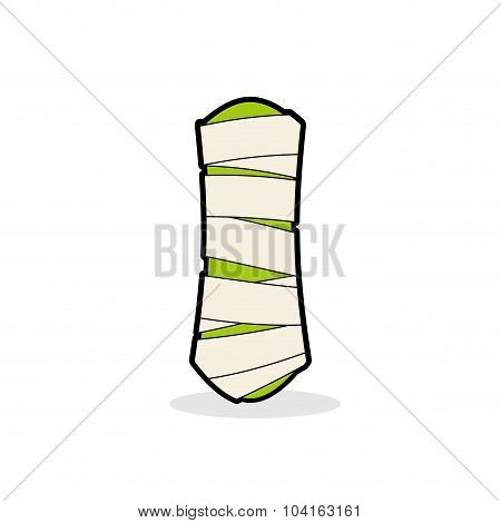 Letter I Mummy. Typography Icon In Bandages. Horrible Egyptian Elements Template Zombies Alphabet. A