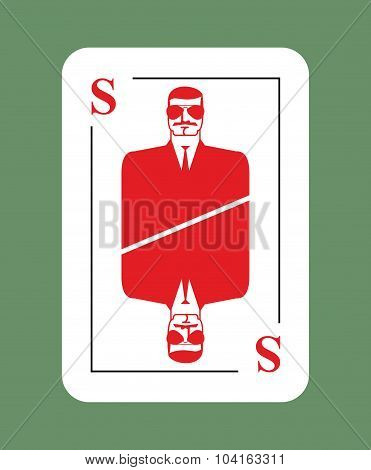 Playing Card Security. Conceptual New Card Suit. Secret Agent In Glasses. Protects Another Playing C