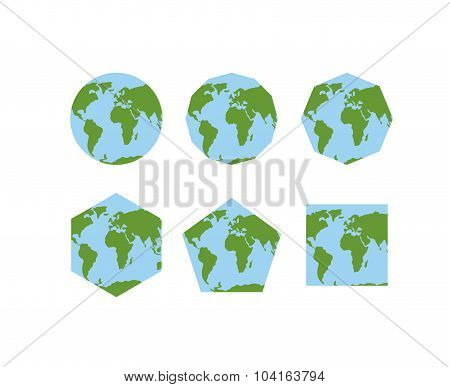 Set Of Geometric Shapes Of World Atlases. Map Of Planet Earth . Earth Is Round. Pentagon With Contin