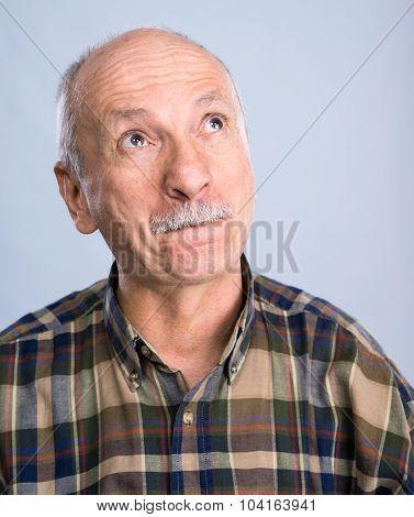Smiling Surprised Senior Man