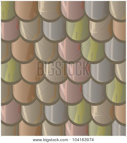 Vector Texture Illustration Of Seamless  Clay Roof Tiles, Slate.