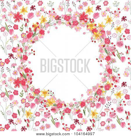 Round summer wreath with roses and different flowers. For season design, announcements, postcards, posters.