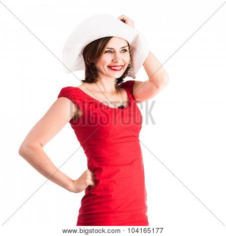 beautiful smiling girl with hat and red dress