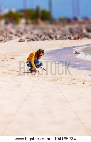 Portrait of a young woman crouching on the beach and collecting shells