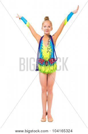 little gymnast doing standard with hands up isolated on white background