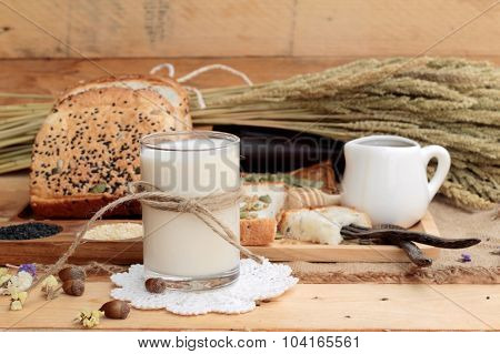 Brown Bread With Whole Grain Cereals Of Sliced And Milk.