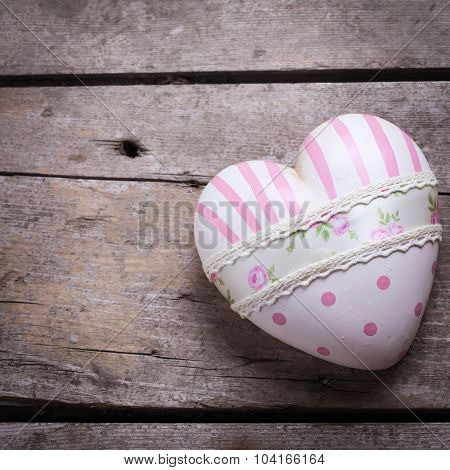 Decorative Pink Heart On Wooden  Background.