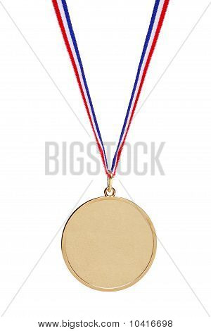 Blank Gold Medal With Tricolor Ribbon