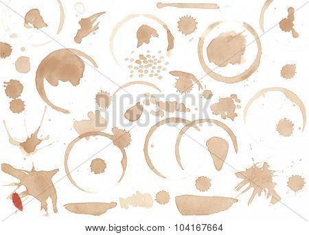Set of coffee stains isolated on white