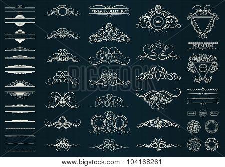 Vintage Set Decor Elements. Decoration For Logo, Wedding Album O