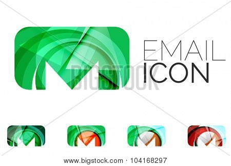 Set of abstract email icon, business logotype concepts, clean modern geometric design. Created with transparent abstract wave lines