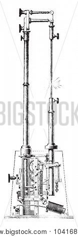 Electric torch or regulator M V Serin, vintage engraved illustration. Industrial encyclopedia E.-O. Lami - 1875.