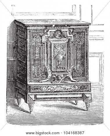 Furniture breast high inlaid ebony, Charles Boulle Louvre, vintage engraved illustration. Industrial encyclopedia E.-O. Lami - 1875.