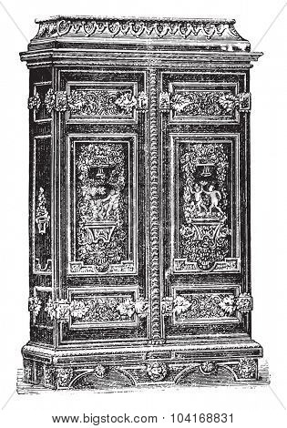 Louis XIV cabinet style genre Ornament, vintage engraved illustration. Industrial encyclopedia E.-O. Lami - 1875.