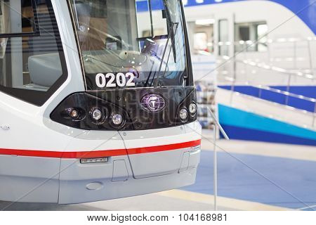 MOSCOW - OCT 30, 2014: Tram at Exhibition of city transport ExpoCityTrans 2014