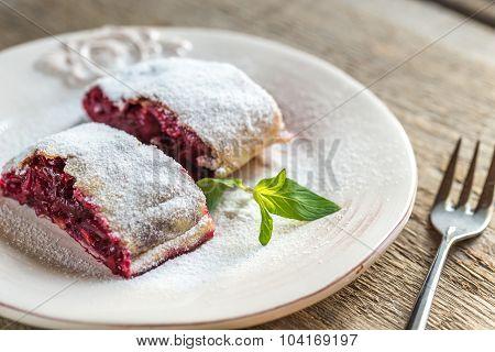 Cherry Strudel With Fresh Mint