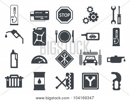 Black Vector Car Service Flat Icons. Vehicle Maintenance And Repair