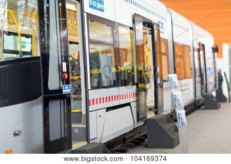 MOSCOW - OCT 30, 2014: Tram at city transport Exhibition ExpoCityTrans 2014