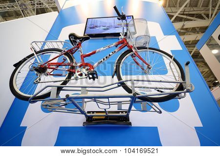 MOSCOW - OCT 30, 2014: Stels Navigator bicycle at exhibition city transport ExpoCityTrans 2014