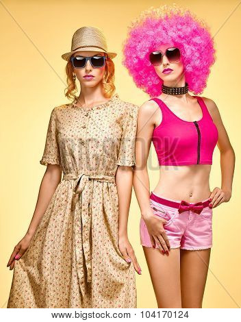 Beauty fashion hipster woman, stylish sisters, friends, afro