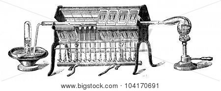 Water analysis by metals, vintage engraved illustration. Industrial encyclopedia E.-O. Lami - 1875.