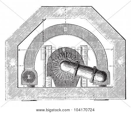 Wide of basement furnace, vintage engraved illustration. Industrial encyclopedia E.-O. Lami - 1875.