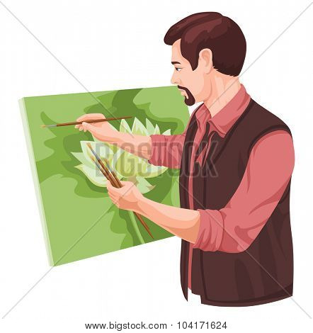 Vector illustration of artist painting on canvas.