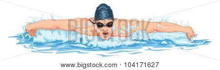 Vector illustration of man in swimming pool.