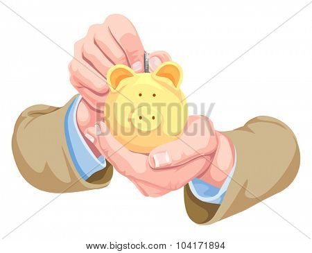 Vector illustration of hands depositing money in piggy bank.